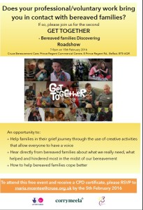 Get Together -Bereaved families discovering Roadshow @ Cruse Bereavement Care,  | Castlereagh | United Kingdom