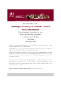 The Future of Marriage & Family in Northern Ireland @ Wellington Park Hotel   Northern Ireland   United Kingdom