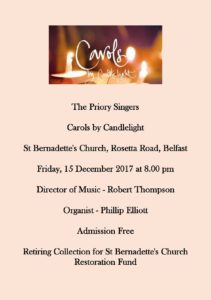 Carols by Candlelight @ St Bernadette's Church, Rosetta Road, Belfast