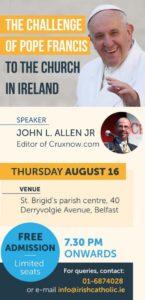 The Challenge of Pope Francis to the Church in Ireland @ St Brigid's Parish Centre | Northern Ireland | United Kingdom